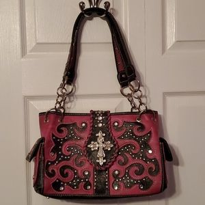 Handbags - Pink vegan leather shoulder bag cross studs
